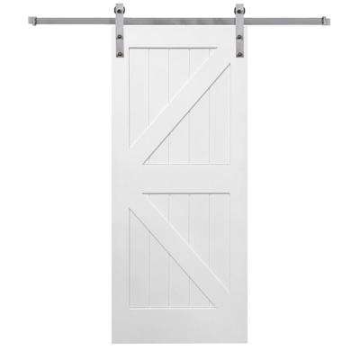 36 in. x 84 in. Primed K-Plank MDF Barn Door with Sliding Door Hardware Kit