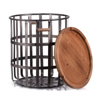Home Decorators Collection Round Galvanized Metal Decorative Basket with Wood Lid (Set of 2)