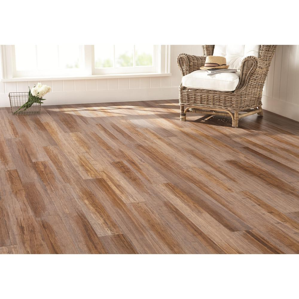 Home Decorators Collection Wire Brushed Strand Woven Sand 3 8 In T X 5 1 8 In W X 72 7 8 In L Engineered Click Bamboo Flooring