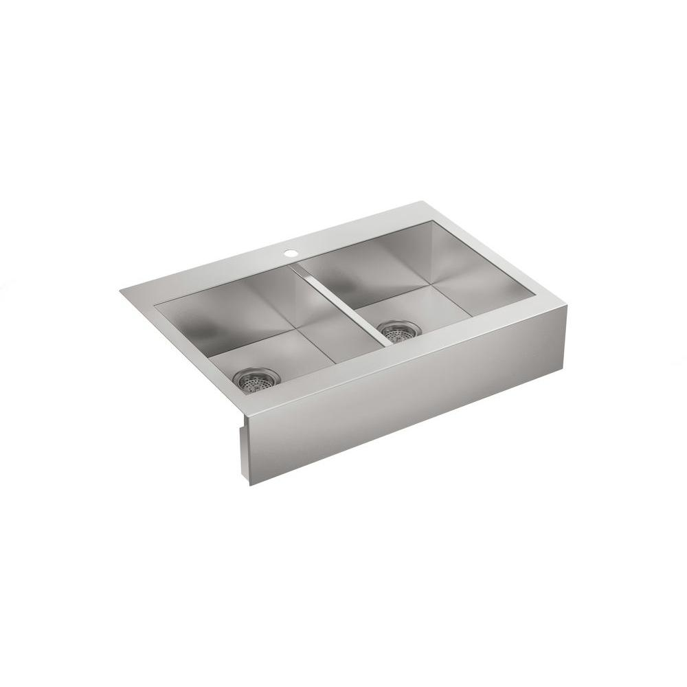 KOHLER Vault Farmhouse Drop-In Apron Front Self-Trimming Stainless Steel 36 in. 1-Hole Double Bowl Kitchen Sink
