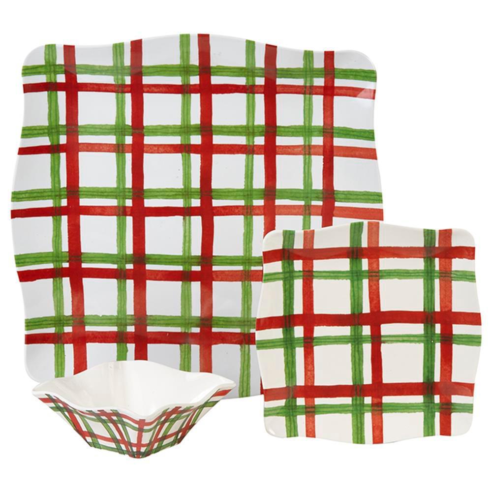 Tartan Twist 9-Piece Traditional Red/White/Green Melamine Outdoor Dinnerware Set (Service for 9)