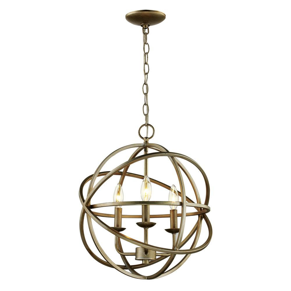 Bel Air Lighting 3-Light Antique Silver Pendant