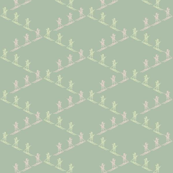 Mitchell Black Baby Collection Ski Slope in Celadon Removable and Repositionable Wallpaper