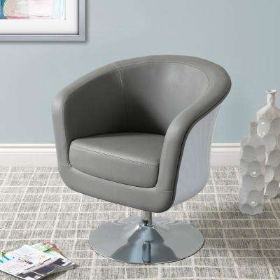 Mod Modern Grey and White Bonded Leather Tub Chair