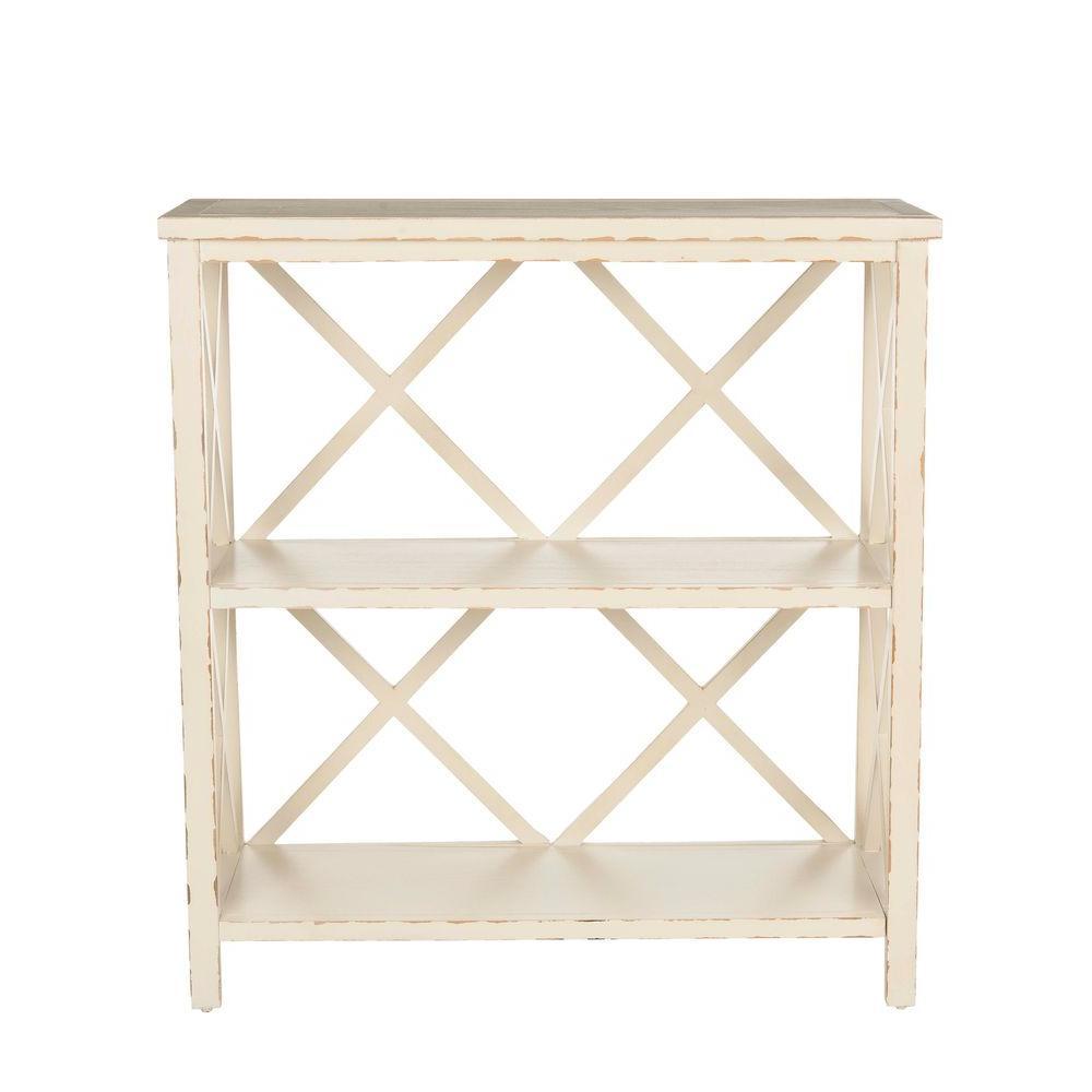 Safavieh Liam Distressed Ivory Open Bookcase