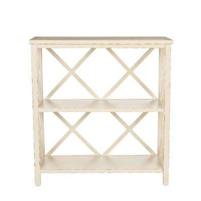 Liam Distressed Ivory Open Bookcase