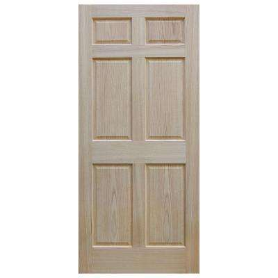 30 in. x 80 in. Unfinished 6-Panel Solid Core Red Oak Interior Door Slab