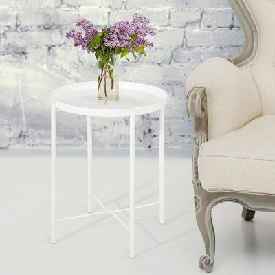 White Metal Round End Table with Removable Tray (Set of 2)