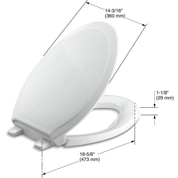 Kohler Rutledge Elongated Quiet Close Closed Front Toilet Seat With Grip Tight Bumpers In White K 4734 0 The Home Depot