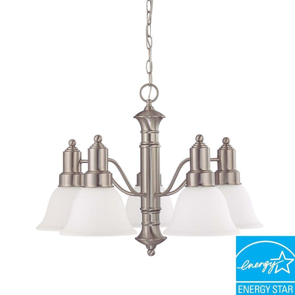 Glomar 5-Light Brushed Nickel Hanging Chandelier