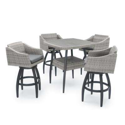 Cannes 5-Piece Wicker Outdoor Bar Height Dining Set with Sunbrella Charcoal Grey Cushions