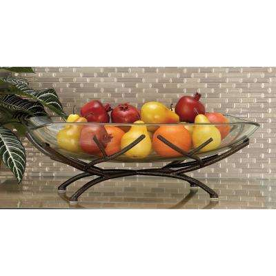 23 in. x 8 in. Modern Glass Bowl with Black Multi-Pronged Frame