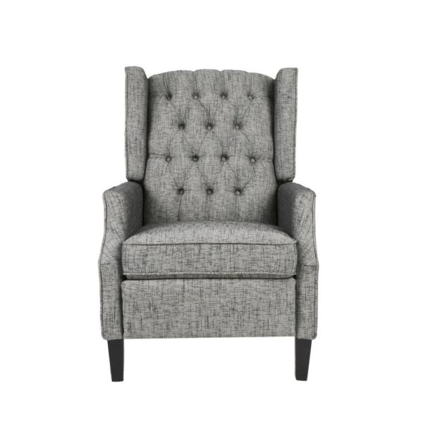 Keating Traditional Tufted Back Taupe Fabric Wingback Recliner