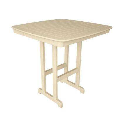 Nautical Sand 44 in. Plastic Outdoor Patio Bar Table