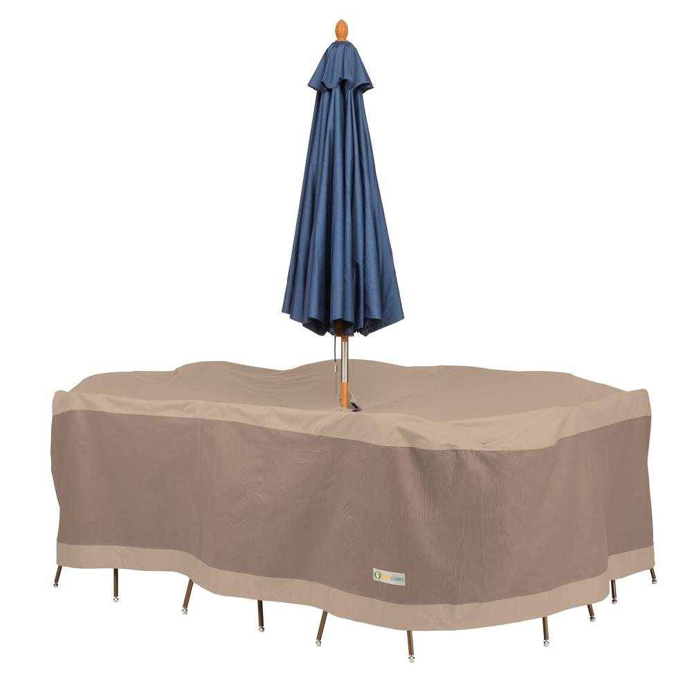Duck Covers Elegant 110 in. L x 84 in. W x 32 in. H Rectangular/Oval Table and Chair Set Cover with Umbrella Hole