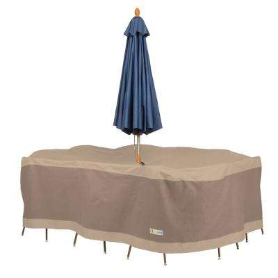 Elegant 110 in. L x 84 in. W x 32 in. H Rectangular/Oval Table and Chair Set Cover with Umbrella Hole