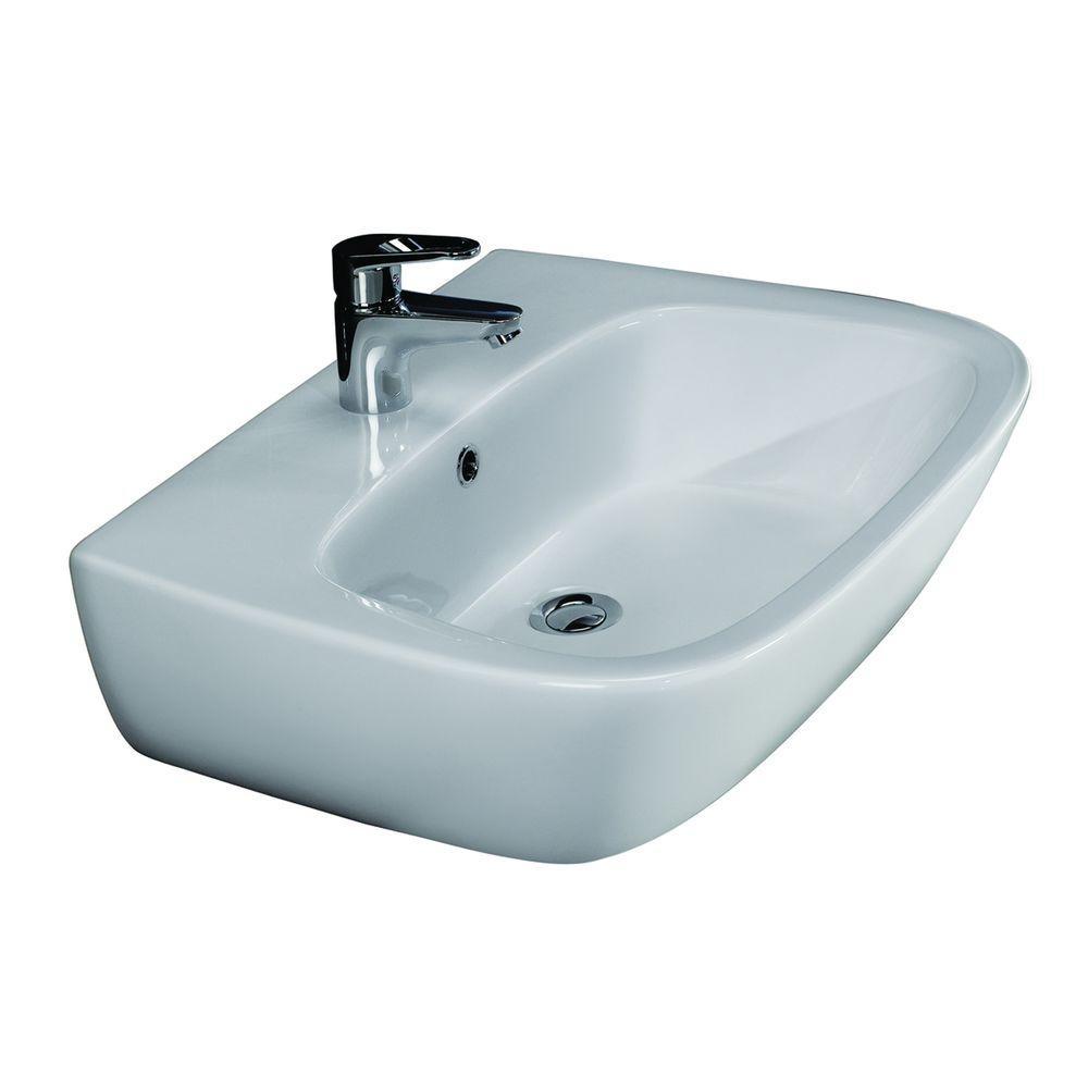 Elena 450 Wall-Hung Bathroom Sink in White