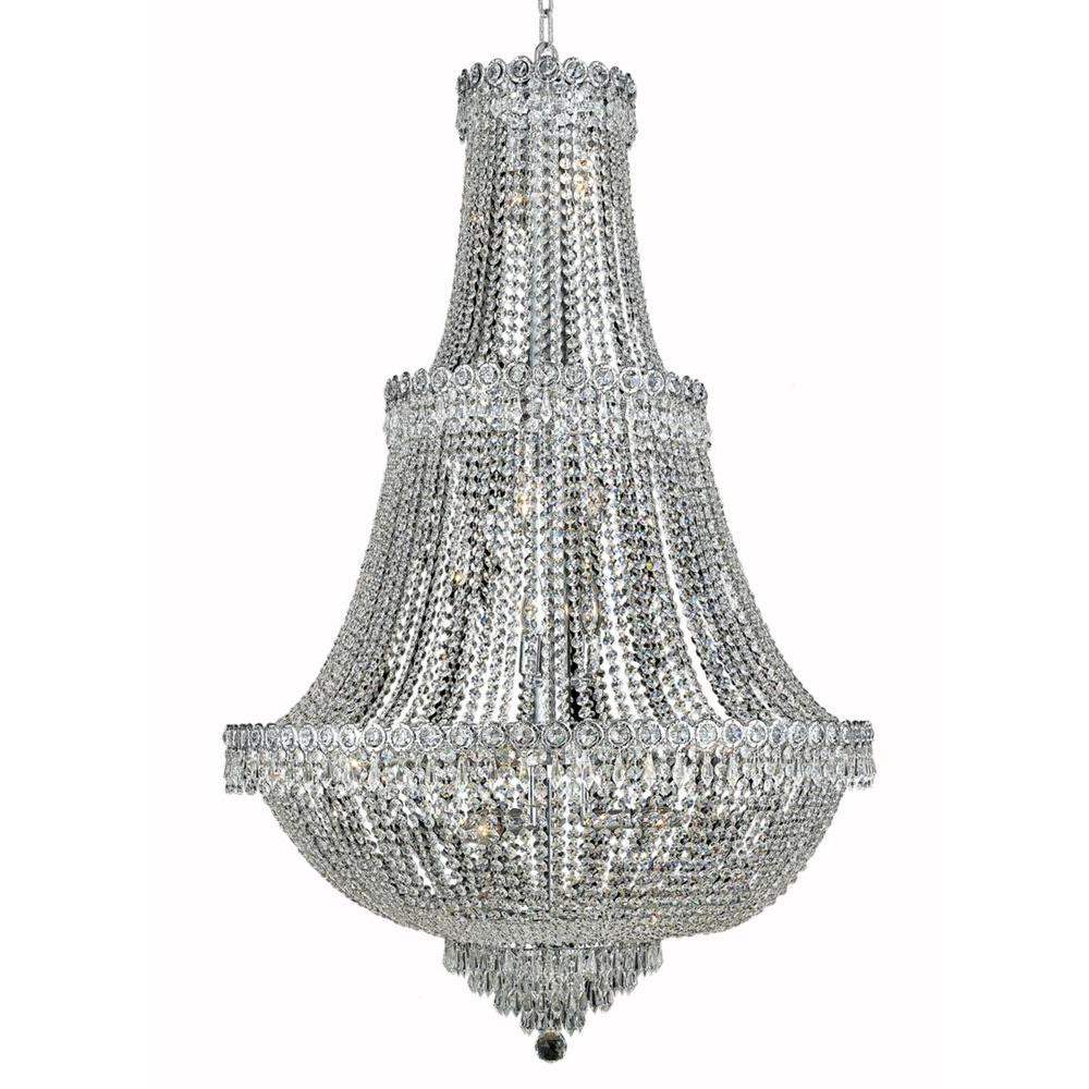 17-Light Chrome Chandelier with Clear Crystal
