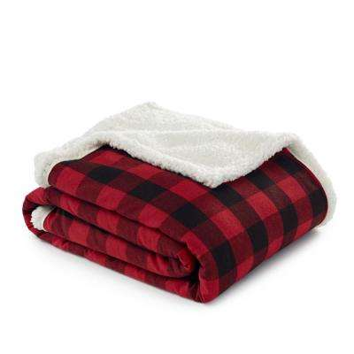 50 in. x 60 in. Cabin Red Sherpa Throw