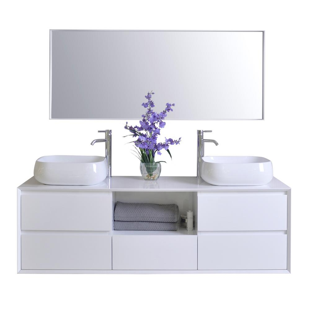 Ancerre Designs Catherine 63 in. W x 18 in. D Vanity in White with ...