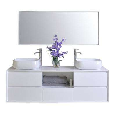 Catherine 63 in. W x 18 in. D Vanity in White with Solid Surface Vanity Top in White with White Basins and Mirror