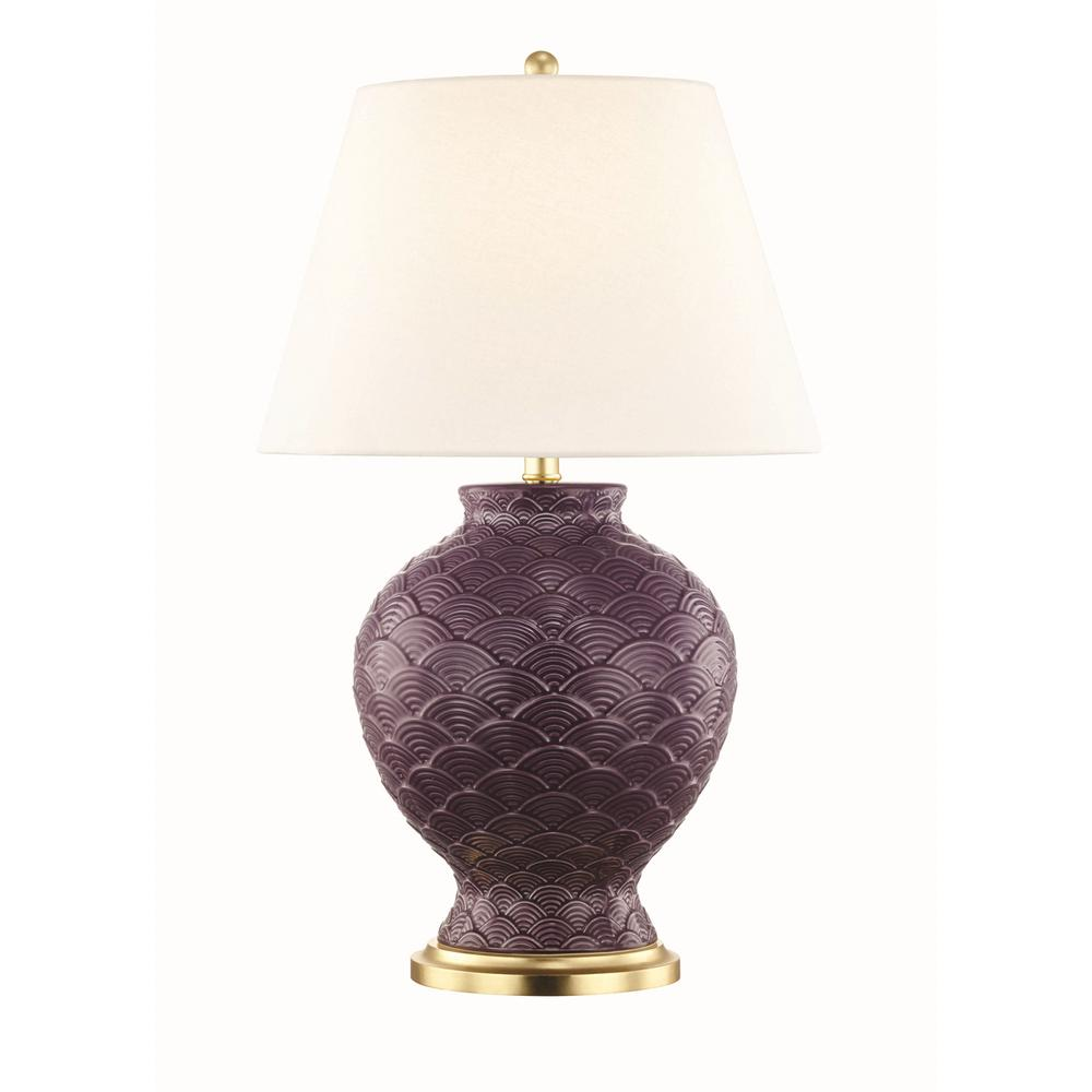 Mitzi by Hudson Valley Lighting Demi 25.25 in. High Plum Table Lamp with Off White Linen Shade
