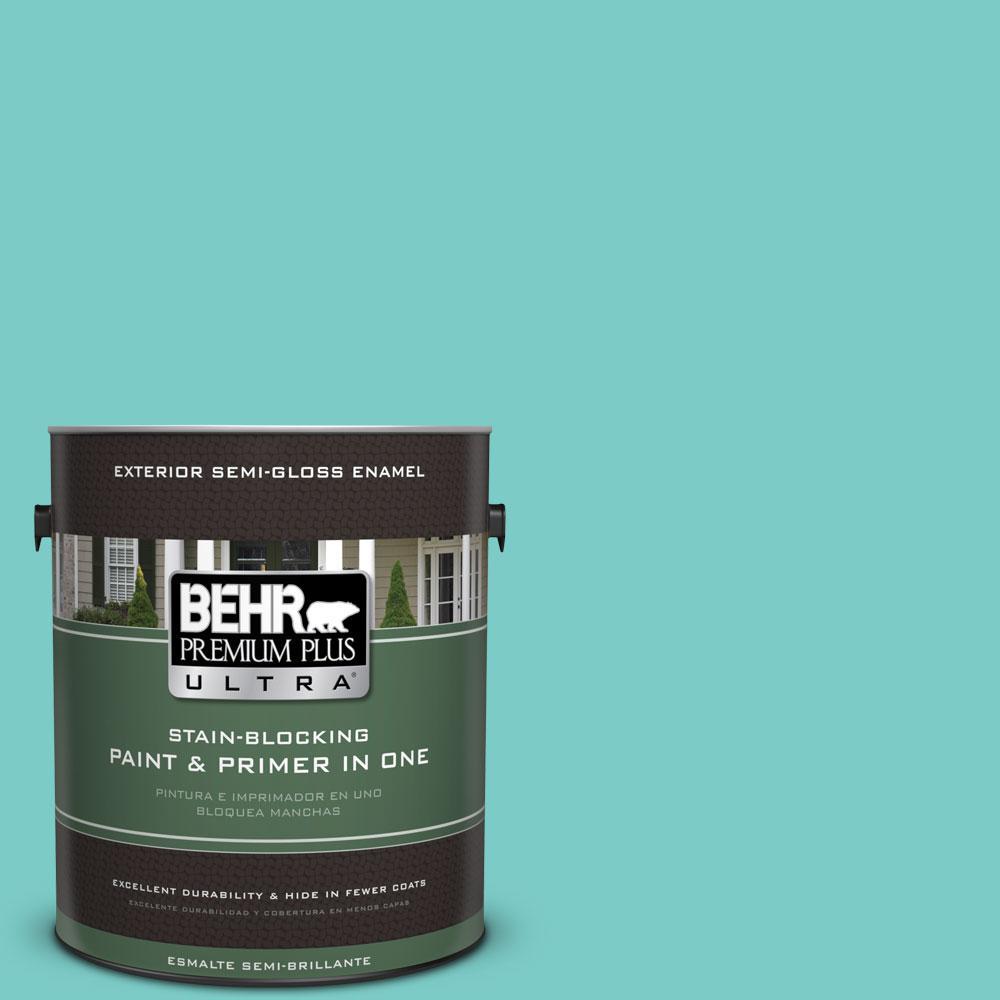 BEHR Premium Plus Ultra 1-gal. #BIC-39 Blue Green Gem Semi-Gloss Enamel Exterior Paint