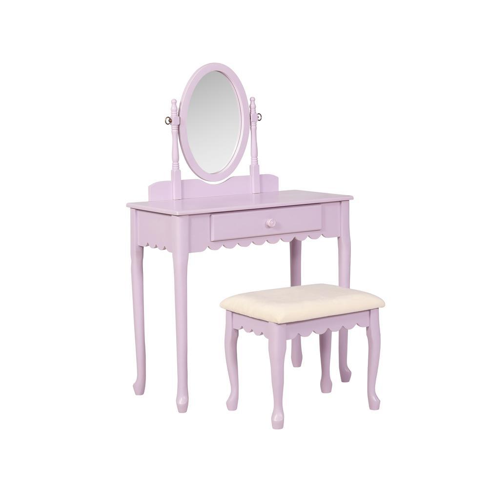 Linon Ellie Lilac Purple Youth Vanity Set Ellie