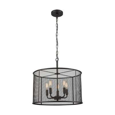 Williamsport 5-Light Oil Rubbed Bronze Chandelier With Metal Drum Shade