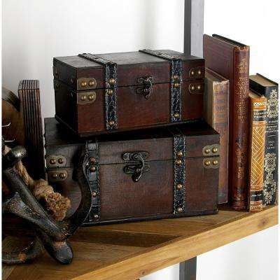 Vintage Rectangular Wood and Faux Leather Boxes (Set of 2)