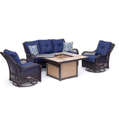 Orleans 4-Piece All-Weather Wicker Patio Fire Pit Conversation Set with Navy Blue Cushions and Table