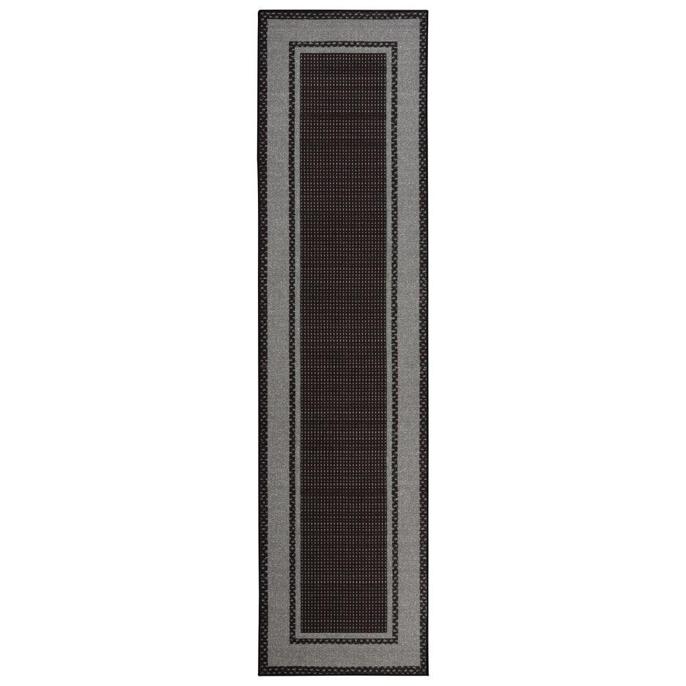 Sweet Home Stores Clifton Collection Bordered Design Black 3 ft. x 10 ft. Runner Rug