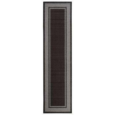 Clifton Collection Bordered Design Black 3 ft. x 10 ft. Runner Rug