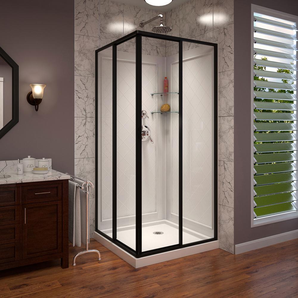 Cornerview 36 in. D x 36 in. W Framed Sliding Shower Kit in Satin Black with Shower Base in White, Corner Drain
