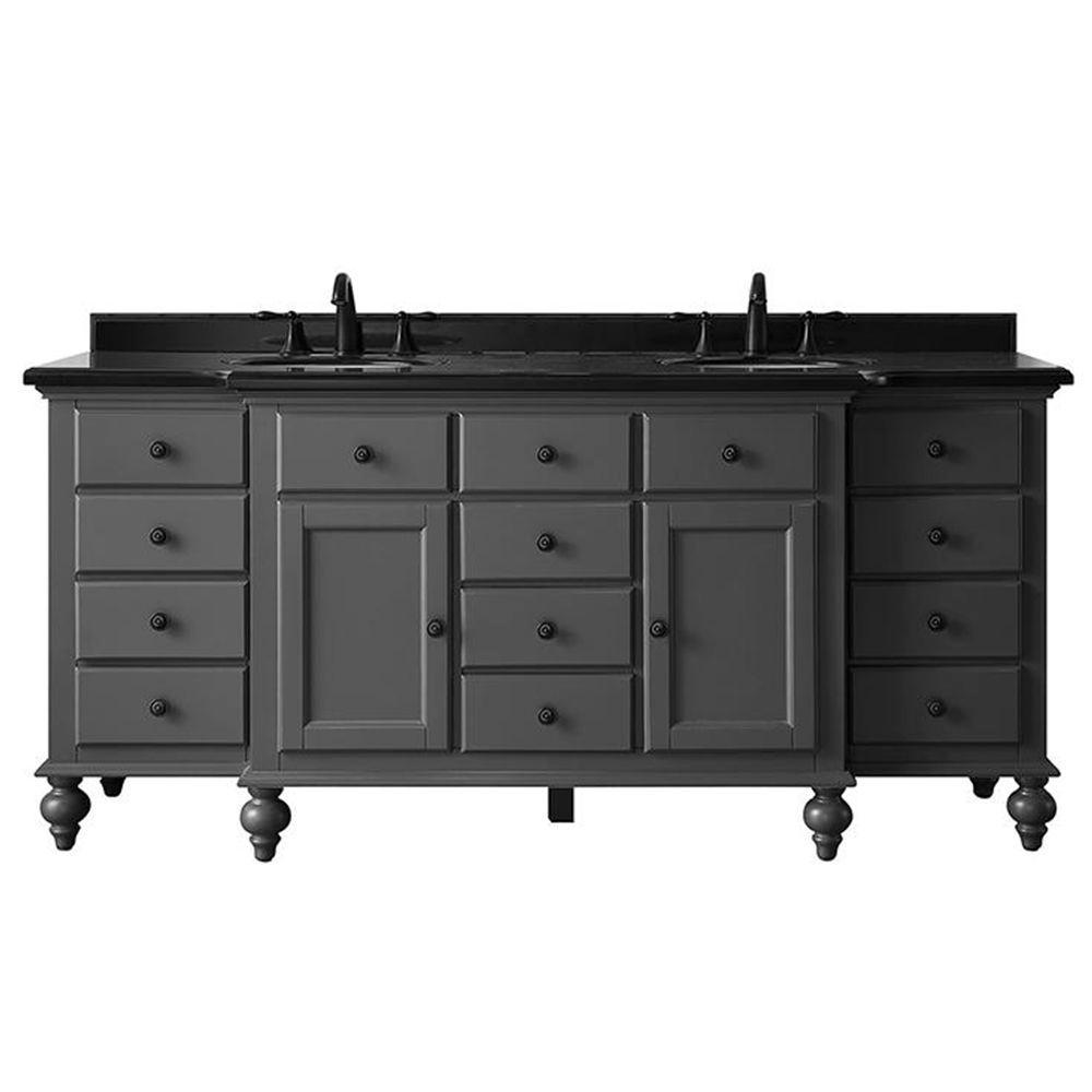Heartside 72 in. W x 23 in. D Vanity in Dark Charcoal with Granite Vanity Top in Black with White Basin