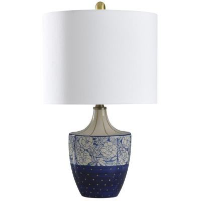 23 in. Cream/Blue and Gold Table Lamp with Geneva White Hardback Fabric Shade
