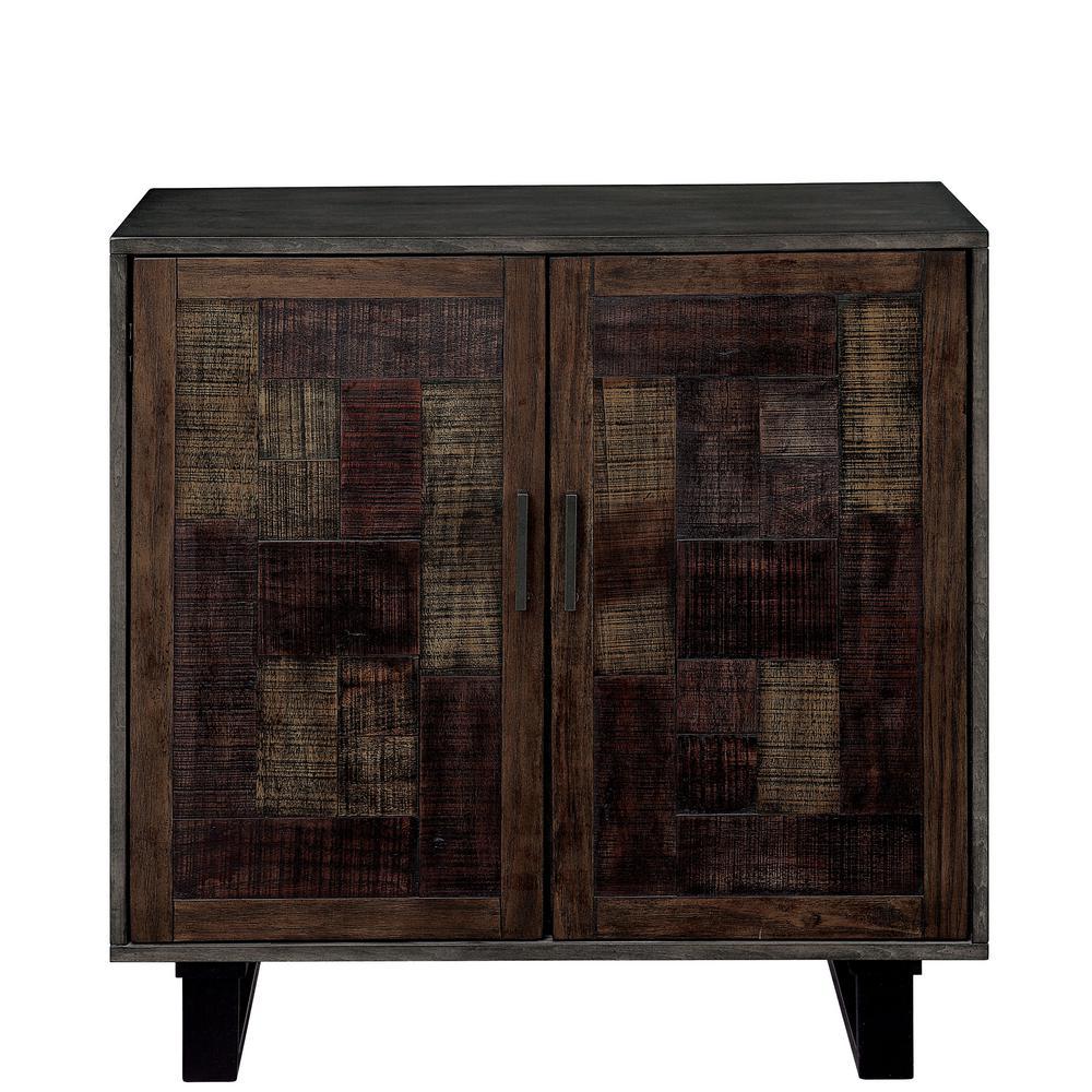 Harley Walnut Oak Storage Cabinet with 4-Shelves