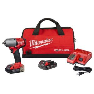 Milwaukee M18 Fuel 18-Volt Lithium-Ion Brushless Cordless Mid Torque 3/8 in. Impact Wrench with Friction Ring (Tool-Only) + 2-Pack Milwaukee M18 18-Volt Lithium-Ion Compact Battery Pack 2.0Ah + Multi-Voltage Battery Charger