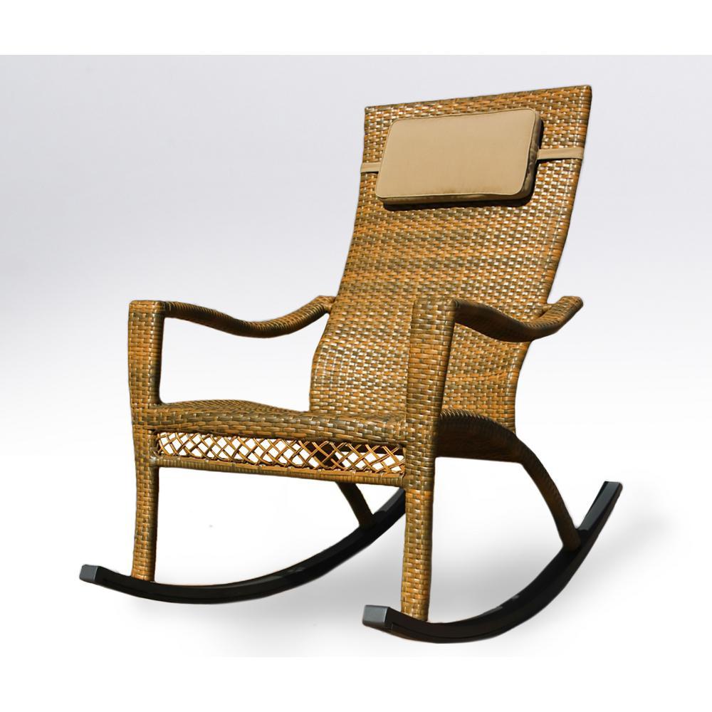 Tortuga Outdoor Maracay Tree Bark Wicker Oversized Rocking Chair With Head Cushion