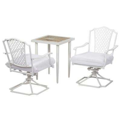 Alveranda Custom 3-Piece Metal Outdoor Bistro Set with Cushions Included, Choose Your Own Color