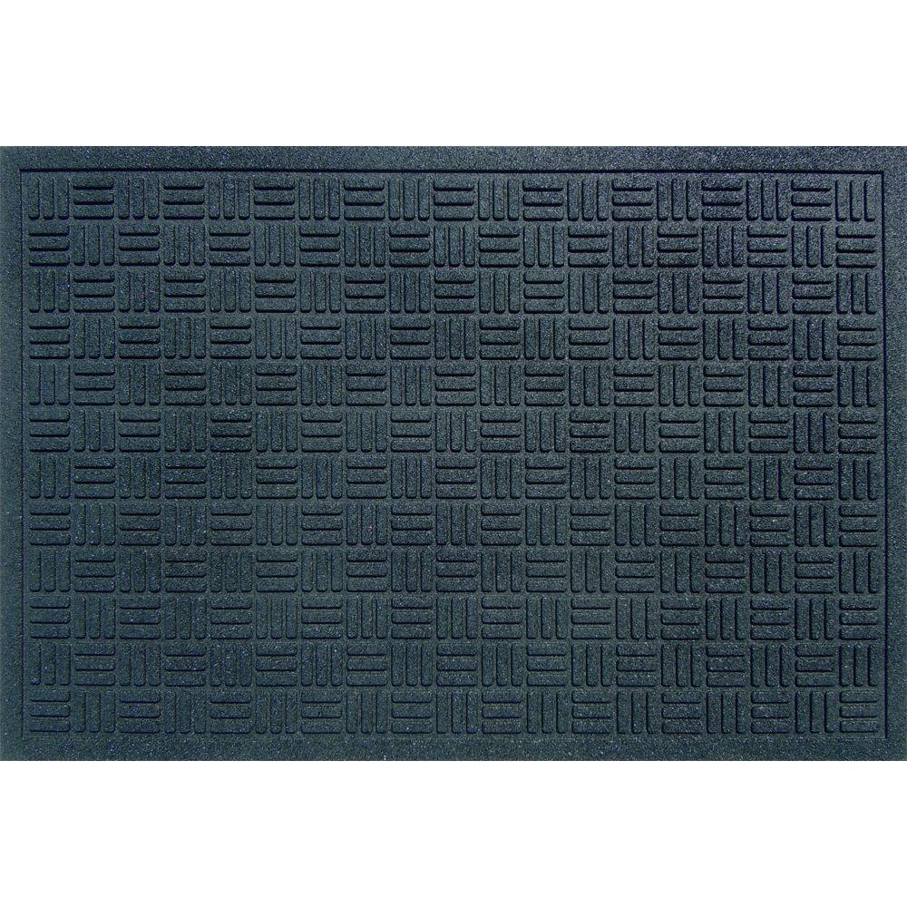 Black 24 in. x 36 in. Recycled Rubber Commercial Door Mat