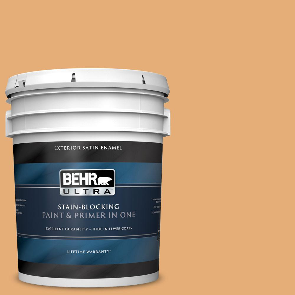 Behr Ultra 5 Gal Pmd 75 Autumn Gourd Satin Enamel Exterior Paint And Primer In One 985405 The Home Depot