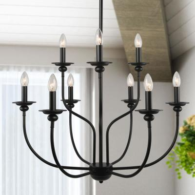 Adjustable Two-Tier Classic Modern Black Farmhouse 9-Light Candle-Style Island Chandelier Durable and LED Compatible