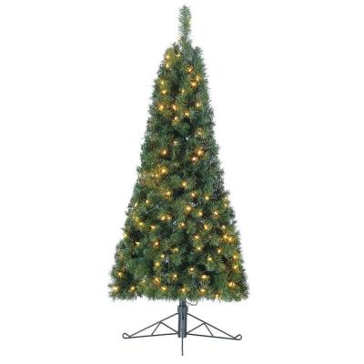 5 ft. Flat Back Half Christmas Tree for Wall with White LED Lights