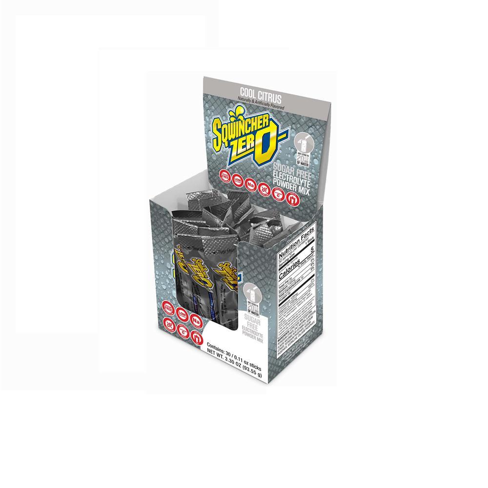 Sqwincher Zero Sugar Qwik Stik Single Serve 0.11 oz. Cool Citrus Electrolyte Drink Mix Powder (120-Stiks per Case)