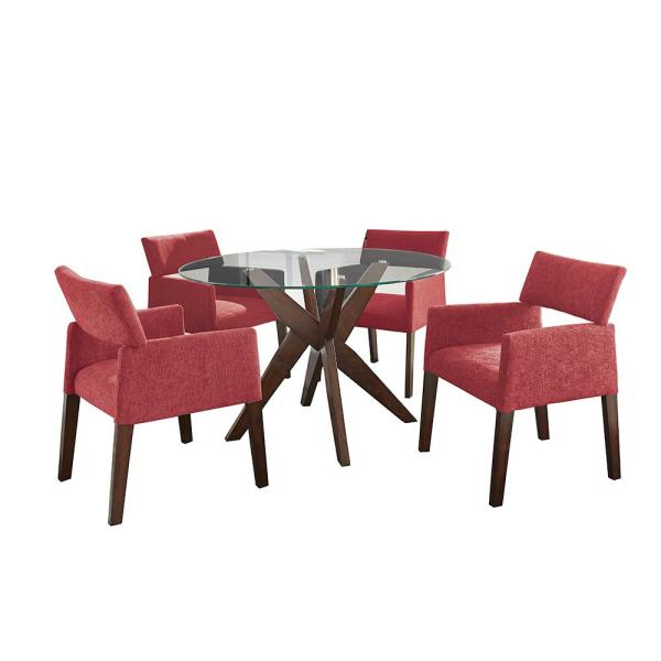 Steve Silver Amalie 5 Piece Red Chairs Dining Set