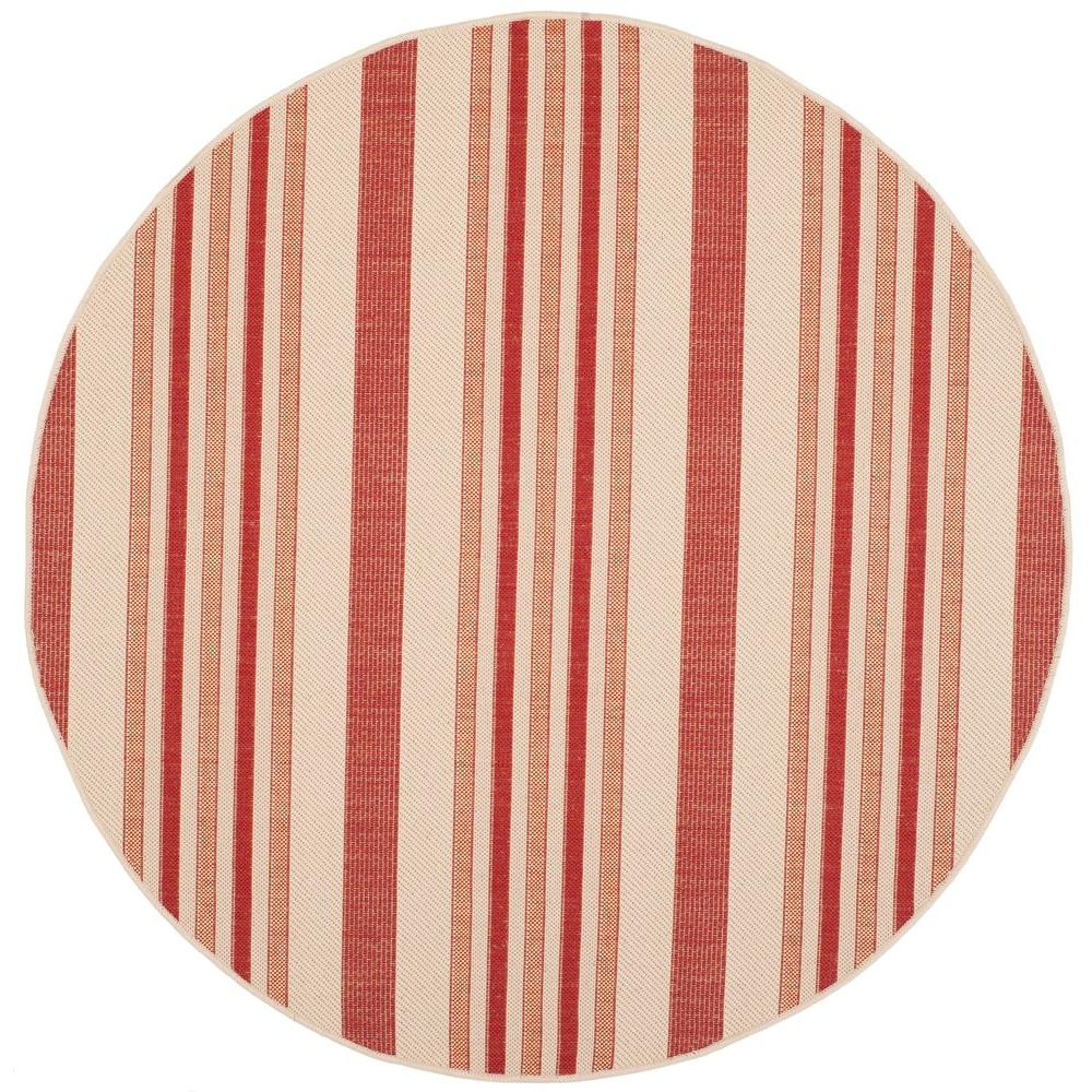 Courtyard Beige/Red 6 ft. 7 in. x 6 ft. 7 in.