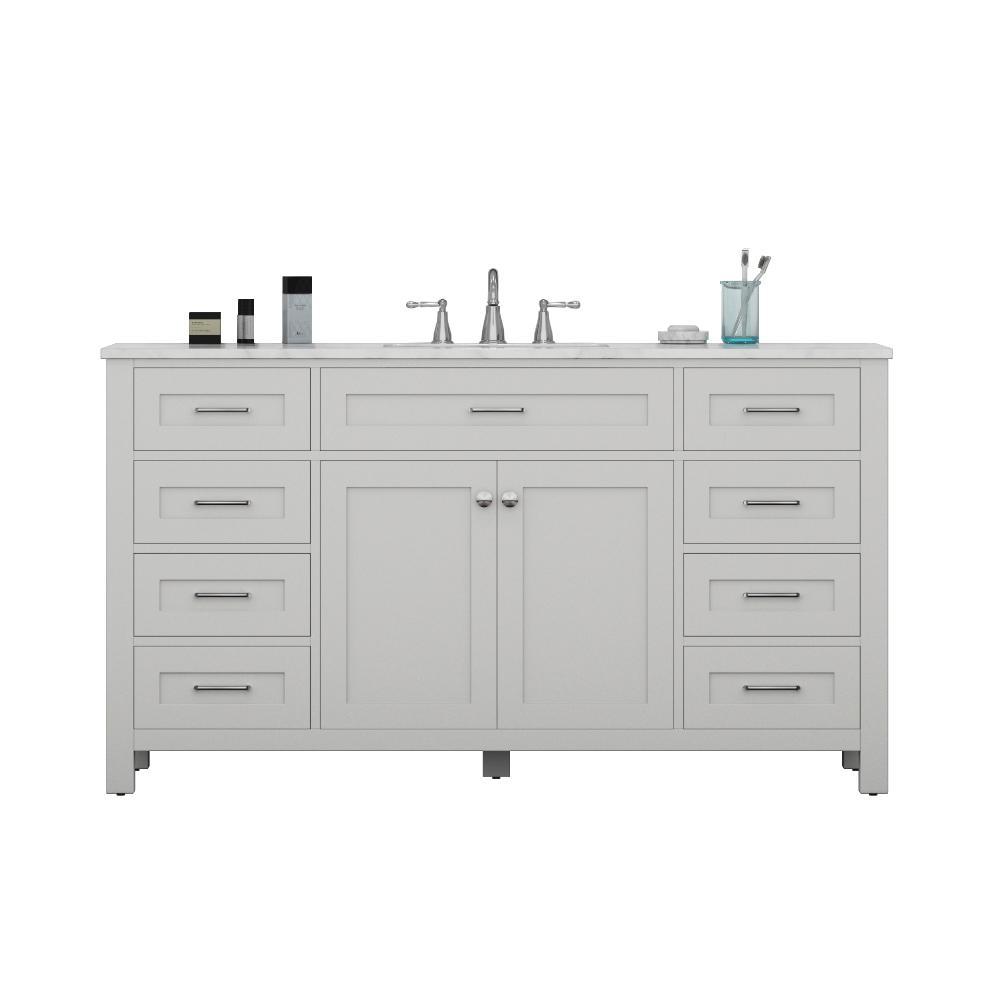 Norwalk 60 in. W x 34.2 in. H x 22 in. D Vanity in White with Marble Vanity Top in White with White Basin