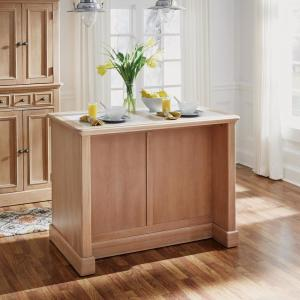 Home Styles Cambridge White Washed Natural Kitchen Island