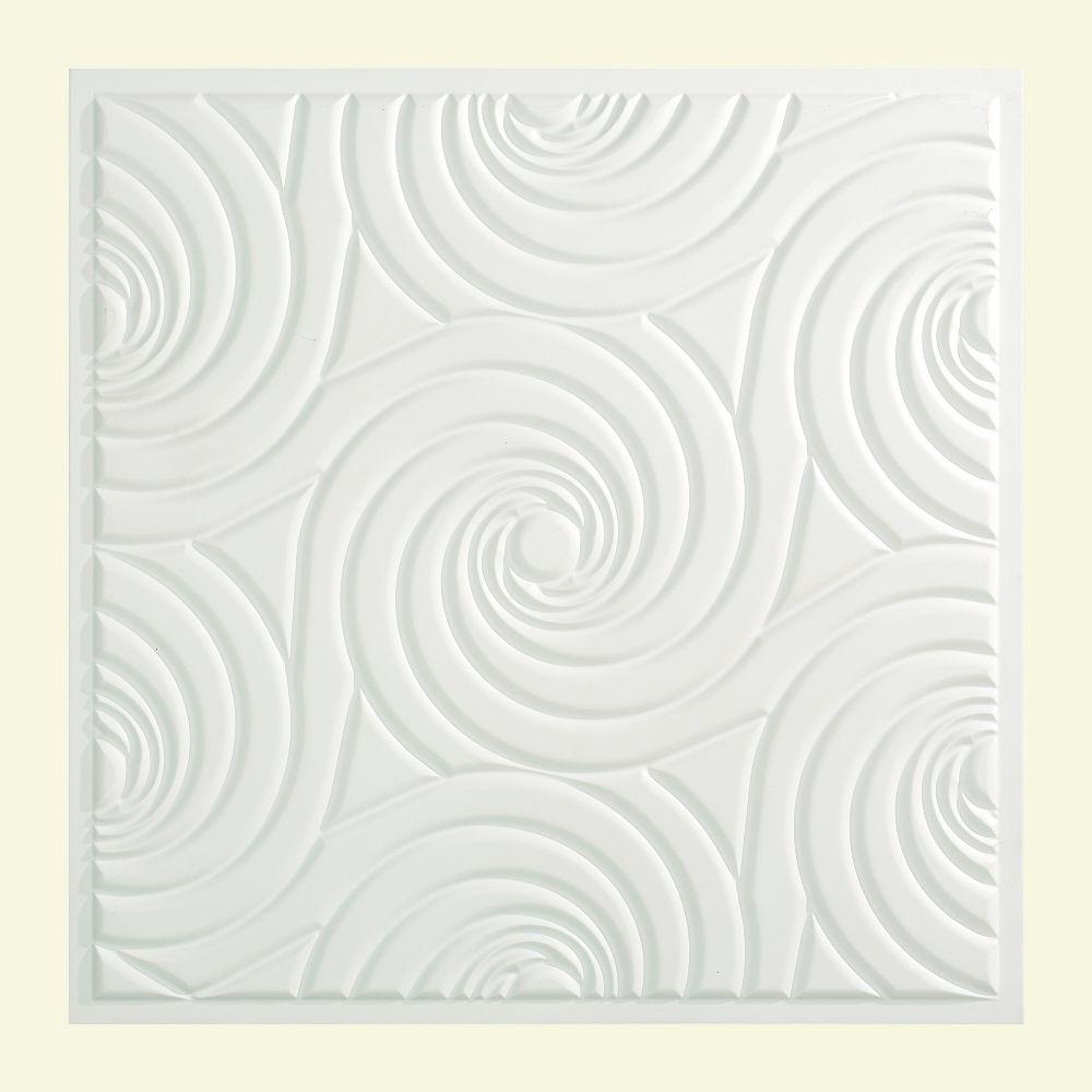 Fasade Typhoon 2 Ft X 2 Ft Lay In Ceiling Tile In Matte White